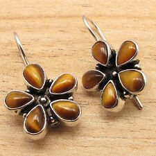 Brown TIGER'S EYE GORGEOUS FLOWER Earrings ! Silver Plated Over Solid Copper NEW