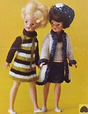 Vintage Knitting Pattern Barbie/Sindy Type Doll Clothes Coat Skirt 4Ply/DK P9525