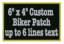 "6"" x 4"" Custom Embroidered Name Patch Motorcycle Biker Tag Personalized Badges"