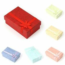 24Pcs Paper Square Package Bow Jewelry Necklace Bracelet Present Gift Box Case