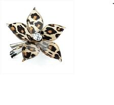 LEOPARD ANIMAL PRINT FLOWER HAIR CLIP SLIDE GRIP DIAMANTE HA24960