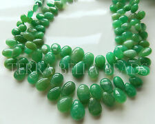 "8"" full strand deep green CHRYSOPRASE smooth pear briolette beads 6mm - 10mm"