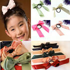Cute Child Lady colors Satin Ribbon Bow Hair Band Rope Scrunchie Ponytail Holder