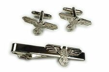 German Germany Sniper SCOPE WW1 WW2 CHROME Military TIE BAR CLIP CUFFLINKS SET
