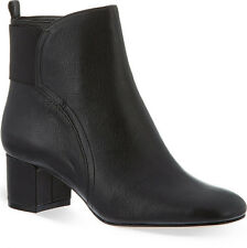 NINE WEST £125 BLACK LEATHER FACEIT HEELED BOOTS.. UK 8   US 10