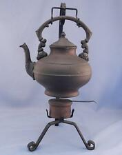 Antique~Vintage Copper Tea Pot~Kettle & Warmer On Hand Made Wrought Iron Stand