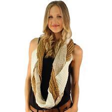 Winter Braided 2 Tone Chunky Knit Loop Cowl Infinity Scarf Shawl Ski Beige Ivory