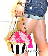 Betsey Johnson Cupcake CrossBody Bag Clutch Pink White Black Purse NWT