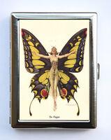 Art Deco Butterfly Flapper Women Cigarette Case id case Wallet Business Card