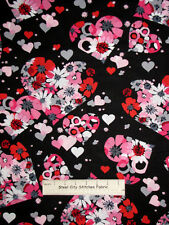 Valentines Day Valentine Heart  Flower Pink Robert Kaufman Cotton Fabric YARD