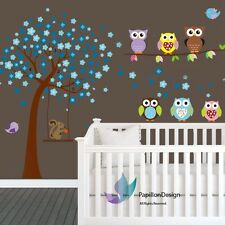 Cherry Tree Flower Owls Squirrel  Baby Boy Nursery wall Decal sticker Deco