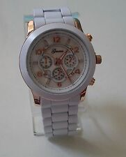 Rose Gold/White finish designer inspired style fashion Geneva link unisex watch