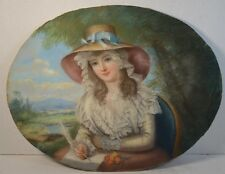 Antique French Pastel Portrait of a Young Woman