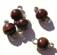 Charm Drop Brown Wood Beads Silver Gold ptd Copper Wire 2 loops Handmade, 10 Qty