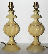 Vintage Pair of Algerian Onyx Brass Trim Bedside Table Lamps 1960's [PL1224]