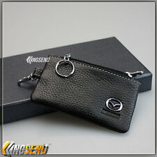 new MAZDA Genuine Cow Leather Car Key Bag Remote Cover Fob Holder Case Ring Coin