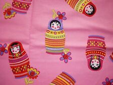 CLEARANCE   FQ MATRYOSHKA RUSSIAN NESTING DOLLS FLOWERS  FABRIC KITSCH