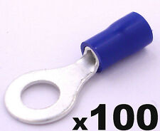 100pcs Blue 6.4mm Ring Insulated Crimp Connectors Electrical Wiring Terminals