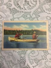 """""""Fishing in State of Washington"""" VINTAGE POSTCARD 2 Men on a Lake in a Row Boat"""