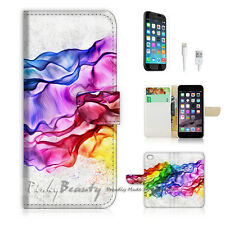 "iPhone 6 (4.7"") Print Flip Wallet Case Cover! Abstract Colourful Smoke P0160"