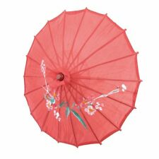 "Flower Print Red Cloth Bamboo 21"" Dia Chinese Oriental Umbrella Parasol CT"