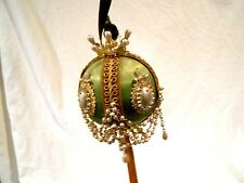 Vintage Hand Made Mint Green Christmas Ornament (Kit??)Satin/Beaded/Pearl/detail