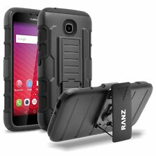 RANZ® HuaWei Union Black Impact Armor Hybrid Kickstand Cover with Belt Clip Case
