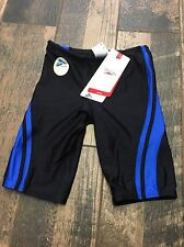 NWT New Speedo Boys Black Blue Printed Performance Jammers Size 26