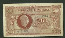 1944 France 500 Francs Cinq Cents 106 Paper Money Currency Note VF