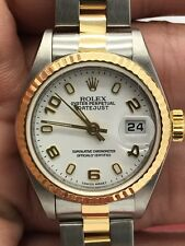 Ladies Rolex Datejust  18kt Yellow Gold & Stainless Steel White Dial Model 79173