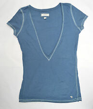 ABERCROMBIE & FITCH blue deep V neck T shirt - size M (approx 8/10)