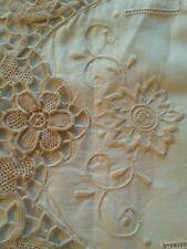 "Antique Italian Linen & Lace Needlelace Doily Oval Centerpiece 19"" x 13 1/2"""