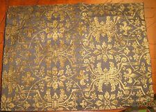 Gold Floral & Fleur De Lis On Brown Tapestry Pillow Top Fabric Piece