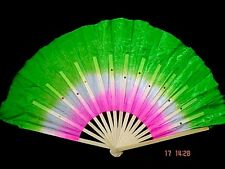 "2 CHINESE 16"" GREEN PINK DANCE HAND FAN W WAVY EDGE STAGE NEW YEAR PARTY L14"