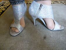 """Silver sparkly unusual party shoes size 6 by Next 4"""" heels very good condition"""