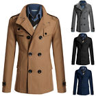 New Mens Double Breasted Overcoat Trench Coat Winter Military Windbreaker Jacket
