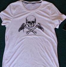 NWT Womens Nike M White/Black Skull Cross Bones Shoes Dri-FIt Shirt Medium 8-10