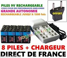 8 PILES POWER BATTERIE RECHARGEABLE + CHARGEUR - 9V - Ni-Mh 600Mah