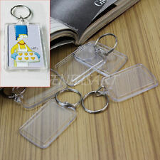 5Pcs Clear Acrylic Blank Photo Picture Frame Key Ring Keychain Keyring Gift