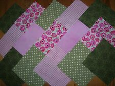 """40 x 4 """"Charm Pack Pink & Green 100% cotone PATCHWORK / Quilting / Crafts GAP"""