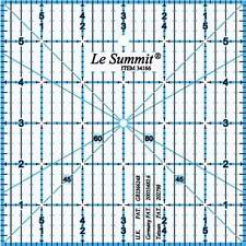 """Le Summit 6 Inch X 6 Inch Patchwork Quilting Ruler Clear Acrylic Ruler 6""""X6"""""""