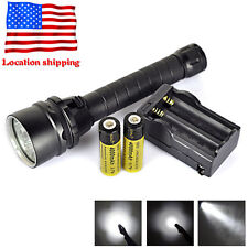 Underwater 100m 15000LM 5X XM-L2 LED Scuba Diving Flashlight Torch+18650+Charger
