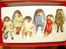 Preiser G scale 1:22.5 SIX SEATED Figures ( including man with ball cap) 45152