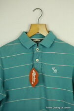 ABERCROMBIE MENS POLO SHIRT MEDIUM SHABBY VINTAGE BLUE STRIPED MUSCLE FIT P47