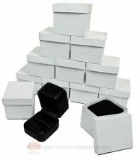 """12 Piece Round Corner Black Leather Ring Jewelry Gift Boxes 2"""" x 2 3/8"""" x 1 3/4"""""""