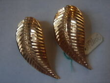 BOUCLES D'OREILLES FEUILLE CLIP VINTAGE 1980  NEUF/ OLD NEW LEAVE EARINGS