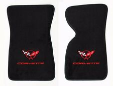 NEW! FLOOR MATS 1968-1982 Corvette With Embroidered Circle Flags Double Logo Pr