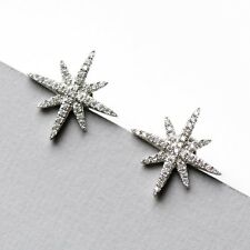 White Gold Plated 925 Sterling Silver Starburst Stud Earrings Paved W. CZ