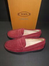 BNWT Beautiful Designer TODS JUNIOR Kids Red Suede Loafer Shoes 33 ITALY