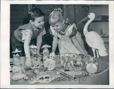 1949 Boy & Girl Enjoy the Toys at American Toy Fair NY Press Photo